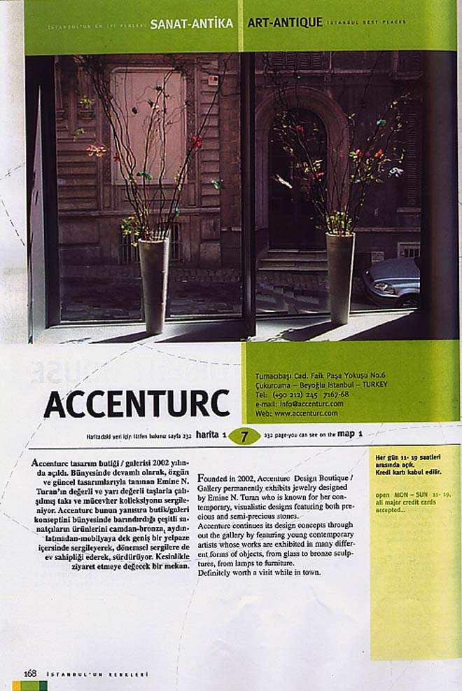 "Coverage at ""Istanbul 2004 BEST Places"" magazine on aCCenturC Design Gallery"