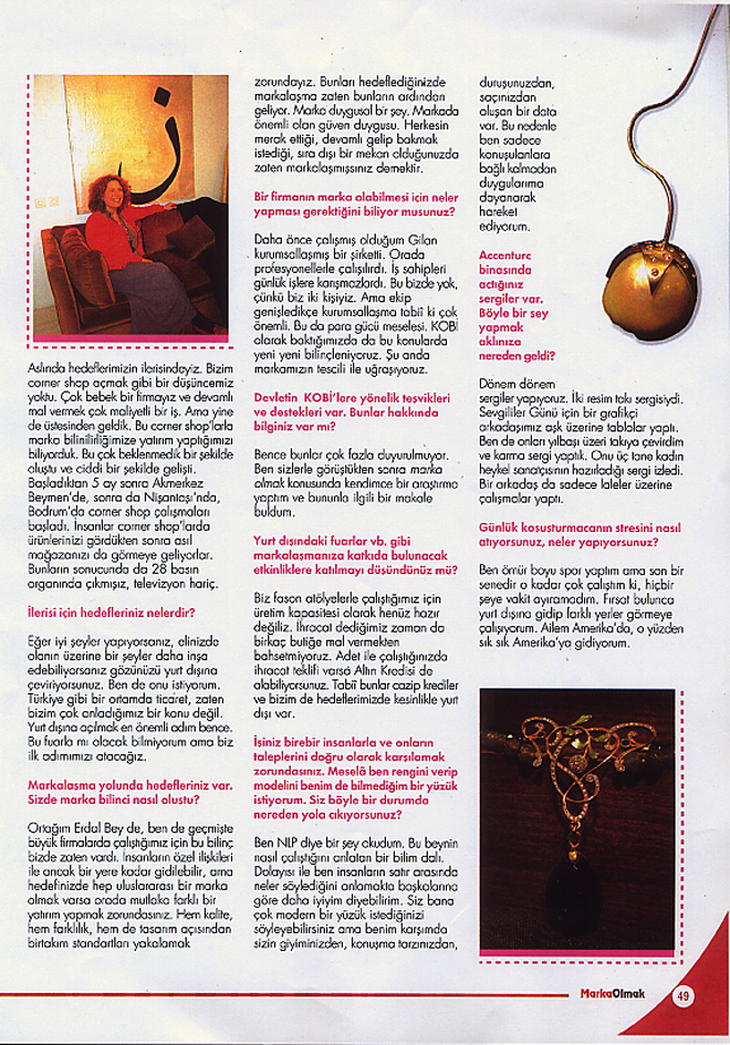 "MARKA OLMAK ,Interview with aCCenturC's Emine Turan at ""Becoming a Brand"" Magazine"