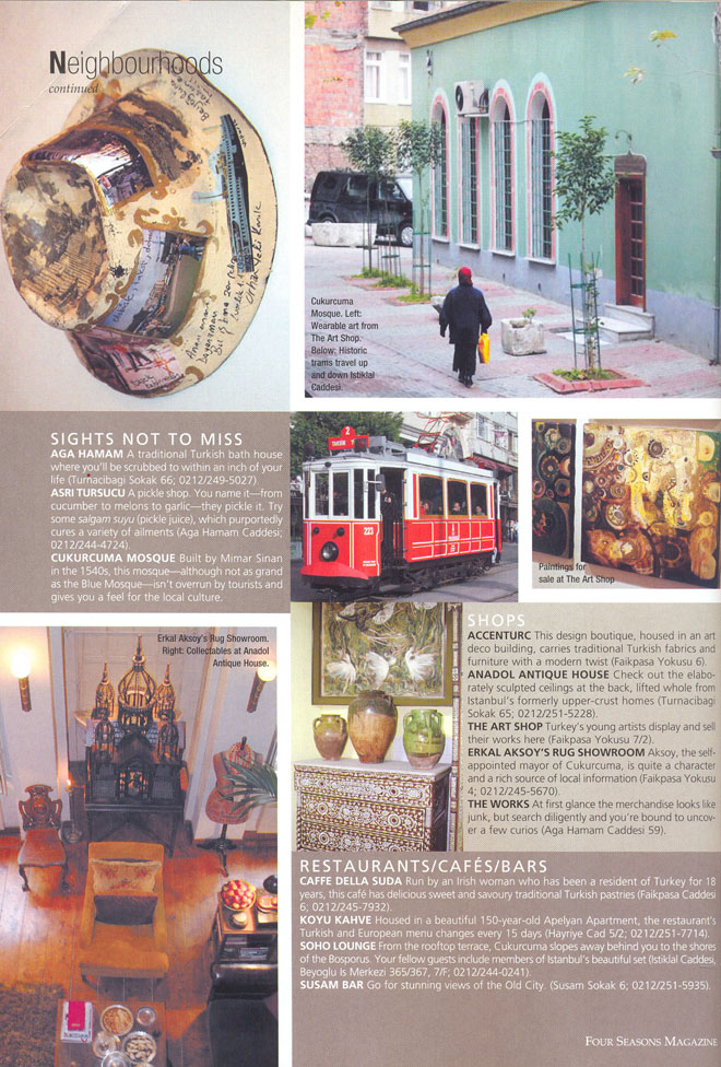 Press Coverage at Four Seasons magazine on Istanbul & aCCenturC Design Gallery