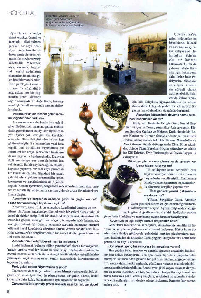 Press Coverage on Harper's Bazaar Magazine on aCCenturC Design Gallery and Emine Turan,shipbuiding engineer,jewelry designer, jewellery design