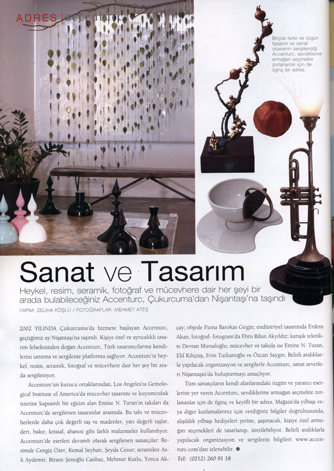 Coverage on aCCenturC Design Gallery at House Beautiful,art,design,sculpture,jewelry