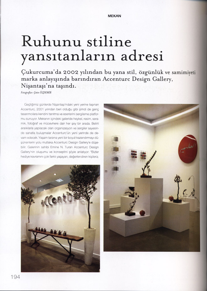 "Coverage on aCCenturC Design Gallery at ""Marie Claire Maison ""Magazine,cukurcuma,nisantasi,art,artists"