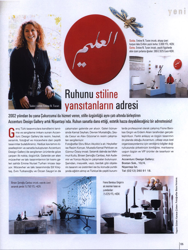 Maison Française Magazine's Coverage on aCCenturC Design Gallery and Emine Turan's Jewelry and Artwork, el Alim