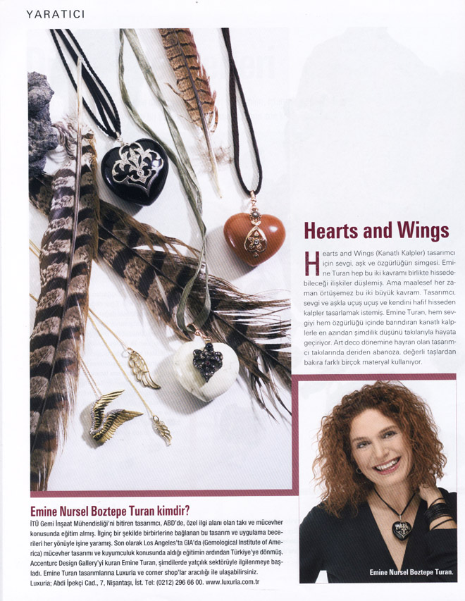 Maison Française Magazine's Coverage on aCCenturC Design Gallery and Emine Turan's Jewelry,jewellery, hearts, wings